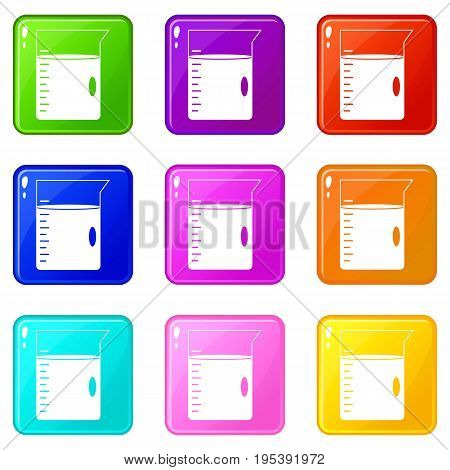 Measuring cup icons of 9 color set isolated vector illustration
