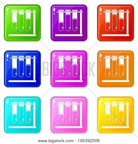Three beakers icons of 9 color set isolated vector illustration