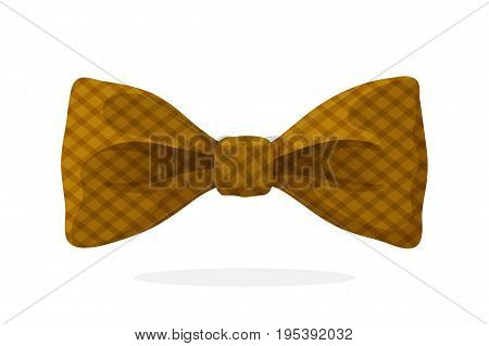 Checkered retro bow tie brown color. Vector illustration in cartoon style. Vintage elegant bowtie. Men's clothing accessories.