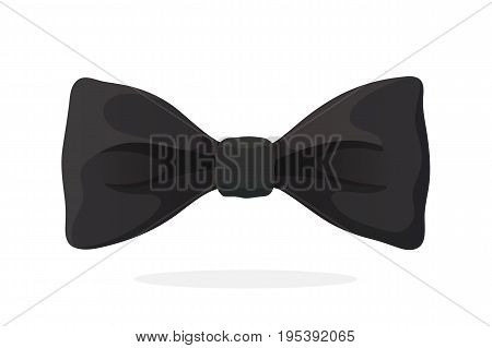 Classic black bow tie. Vector illustration in cartoon style. Traditional elegant bowtie. Men's clothing accessories.