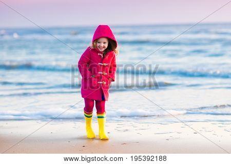 Child On North Sea Beach In Winter