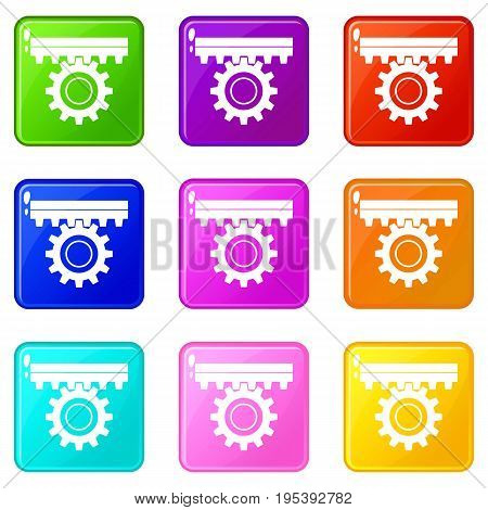 One gear icons of 9 color set isolated vector illustration