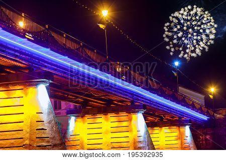 Firework Over Bridge Night City Reflected In Water Uzhorod