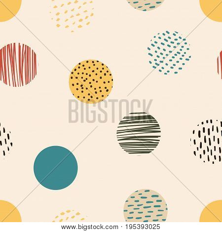 Circle, Circle Background, Retro Pattern Of Geometric Round Shapes Hand Drawing. Geometric Hipster R