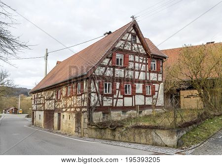 rural impression at a small village named Oberregenbach near Langenburg in Hohenlohe a area in Southern Germany