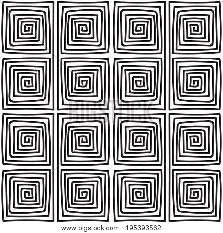 Seamless monochrome hand drawn meander pattern on white background. Design for background, paper packaging, wrapping paper. Vector illustration.