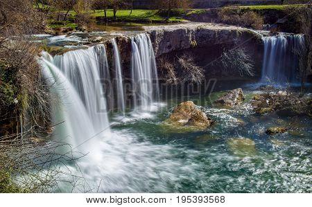River cascade vie in Pedrosa de Tobalina Spain