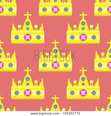 Vector illustration golden crown seamless pattern gemstone isolated on white. Fashion icon and success authority sign. Gold majestic decoration and kingdom jewelry.