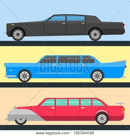 Detailed vector luxury limousine long car transportation detailed design auto business transport design speed pickup graphic. Automobile limo collection.