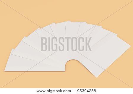 Blank White Three Fold Brochure Mockup On Orange Background