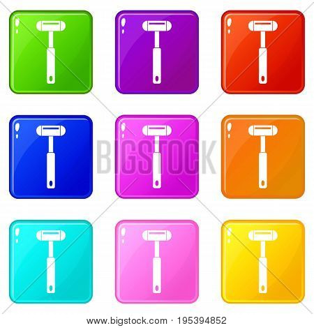 Reflex hammer icons of 9 color set isolated vector illustration