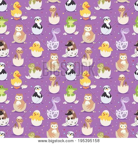Cute new born animals in eggs easter seamless pattern background.