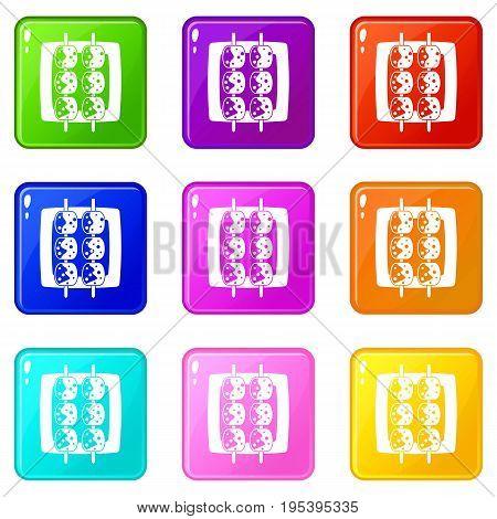 Meat shashlik icons of 9 color set isolated vector illustration
