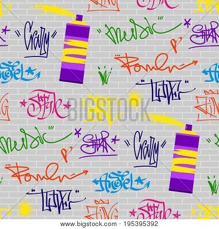 Hand drawn graffiti street art wall grunge font paint symbol design set. Detailed vector graffiti grunge font text brush graphic ink. Grunge phrases dirty art artistic seamless pattern background