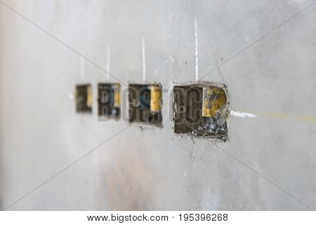 Electrical Socket Hole On Precat Concret Wall, Outlet Electric Wires