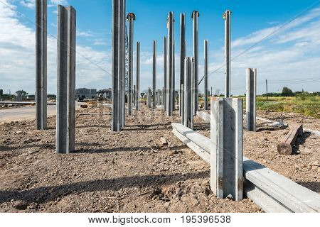 Consruction Site With  Precast Concret Pile And Pile-driver