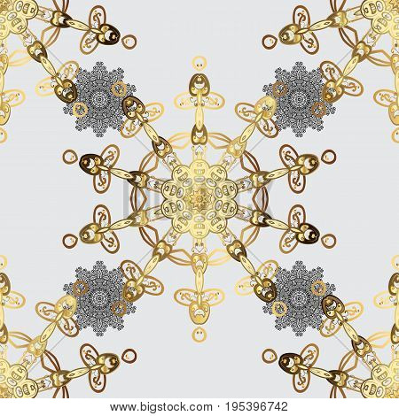 Vector abstract background with repeating elements. Golden pattern on gray background with golden elements. Seamless damask classic white and golden pattern.