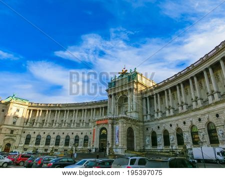Vienna, Austria - January 02, 2015: Vienna Hofburg Imperial Palace at day, Vienna, Austria on January 02 2015