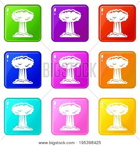 Mushroom cloud icons of 9 color set isolated vector illustration