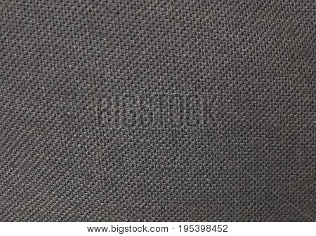 Textile Texture Close Up of Black Sack or Burlap Fabric Pattern Background.