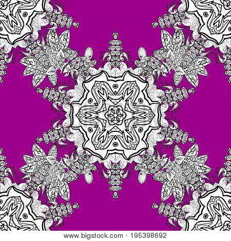 Eastern style element. White element on magenta background. White outline floral decor. Vector illustration for invitations cards web page. Line art seamless border for design template.