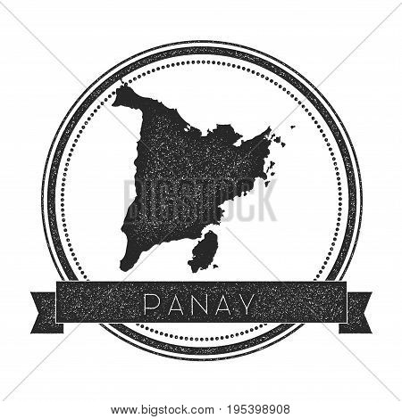 Panay Map Stamp. Retro Distressed Insignia. Hipster Round Badge With Text Banner. Island Vector Illu