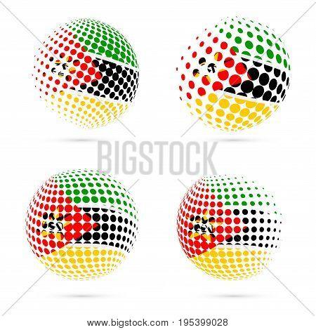 Mozambique Halftone Flag Set Patriotic Vector Design. 3D Halftone Sphere In Mozambique National Flag
