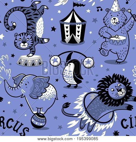 Circus seamless pattern with cartoon characters. Carnival wallpaper design. Kids party card