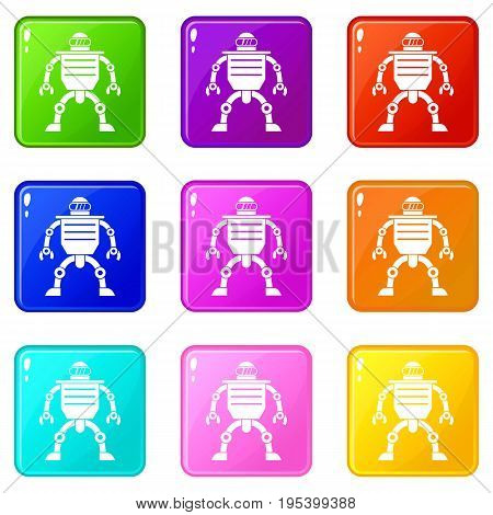 Humanoid robot icons of 9 color set isolated vector illustration