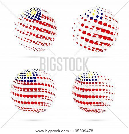 Malaysia Halftone Flag Set Patriotic Vector Design. 3D Halftone Sphere In Malaysia National Flag Col
