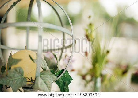 Renaissance Candlestick In Decorative Wedding Arrangement On The Table