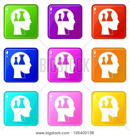 Head with queen and pawn chess icons of 9 color set isolated vector illustration