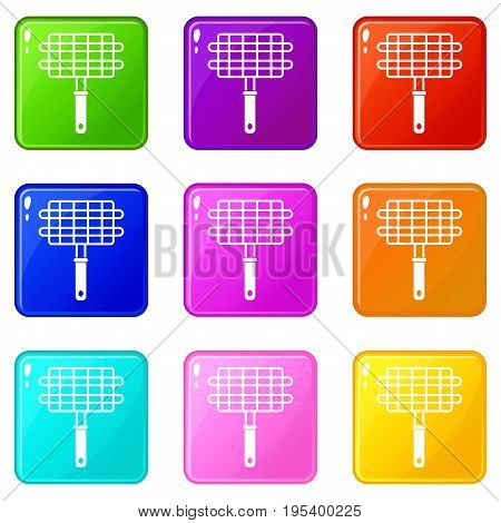 Stainless barbecue grill camping basket icons of 9 color set isolated vector illustration