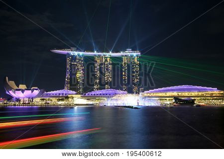 SINGAPORE - July 7, 2017 : Beautiful laser show at Marina Bay Sands.