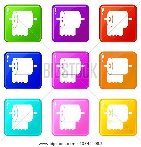 Roll of toilet paper on holder icons of 9 color set isolated vector illustration