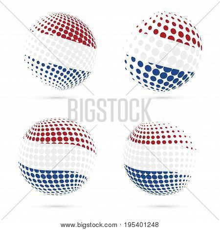 Netherlands Halftone Flag Set Patriotic Vector Design. 3D Halftone Sphere In Netherlands National Fl