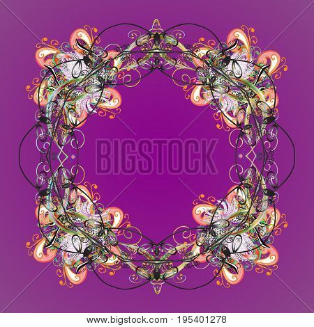 Ornamental pattern of stylized snowflakes and dots on background. Vector abstract design.