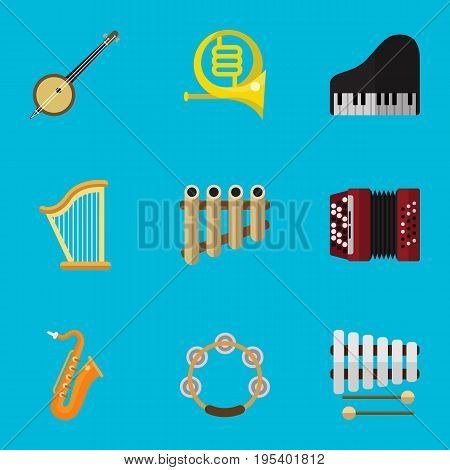 Set Of 9 Editable Media Icons. Includes Symbols Such As Flute, Piano, Sticks And More. Can Be Used For Web, Mobile, UI And Infographic Design.