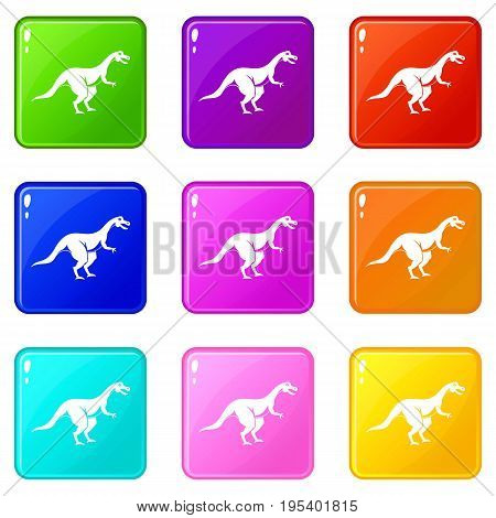 Theropod dinosaur icons of 9 color set isolated vector illustration