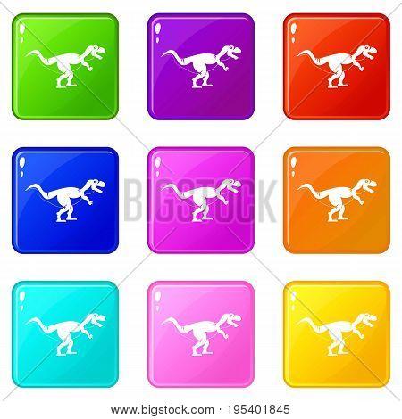 Tyrannosaur dinosaur icons of 9 color set isolated vector illustration