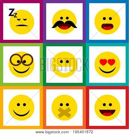 Flat Icon Face Set Of Wonder, Asleep, Grin And Other Vector Objects. Also Includes Asleep, Sleeping, Eyeglasses Elements.