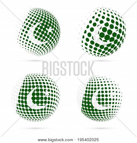 Pakistan Halftone Flag Set Patriotic Vector Design. 3D Halftone Sphere In Pakistan National Flag Col