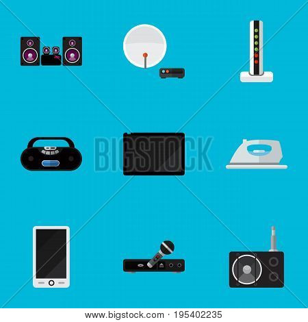 Set Of 9 Editable Technology Icons. Includes Symbols Such As Modem, Stereo System, Cellphone And More. Can Be Used For Web, Mobile, UI And Infographic Design.