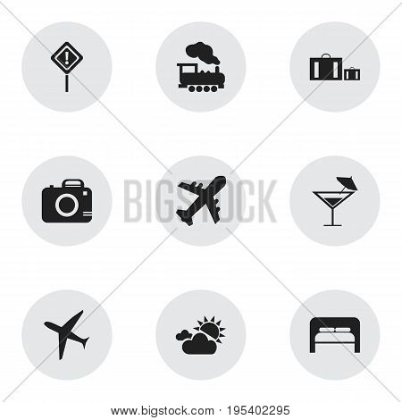 Set Of 9 Editable Travel Icons. Includes Symbols Such As Cocktail, Steam Engine, Bedtime And More. Can Be Used For Web, Mobile, UI And Infographic Design.