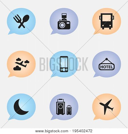 Set Of 9 Editable Travel Icons. Includes Symbols Such As Cutlery, Crescent, Luggage And More. Can Be Used For Web, Mobile, UI And Infographic Design.