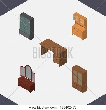 Isometric Furniture Set Of Sideboard, Drawer, Cupboard And Other Vector Objects. Also Includes Cabinet, Desk, Mirror Elements.