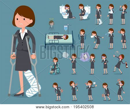 Set of various poses of flat type Gray suit business woman_sickness