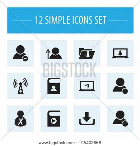 Set Of 12 Editable Global Icons. Includes Symbols Such As Wireless Transmission, New Friend, Error Account And More. Can Be Used For Web, Mobile, UI And Infographic Design.