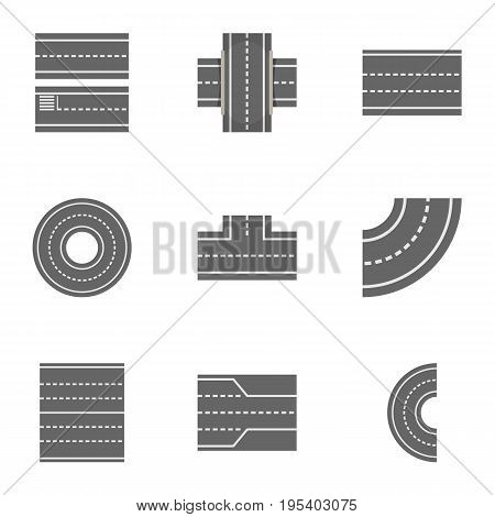 Road constructor icons set. Cartoon set of 9 road constructor vector icons for web isolated on white background