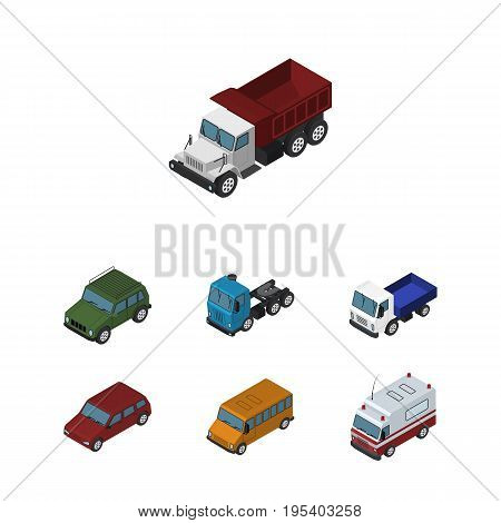 Isometric Car Set Of Armored, Lorry, Freight And Other Vector Objects. Also Includes Suv, Motor, Truck Elements.